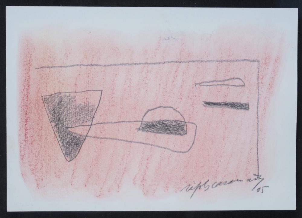Casamada, Alberto Rafols: Ohne Titel (Komposition auf rotem Fond)
