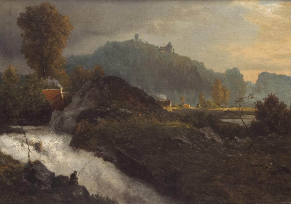Achenbach, Oswald: Abendliche Landschaft mit Wasserfall