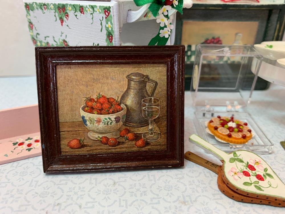 Dollhouse Miniatures - Paul Saltarelli Oil Painting Strwaber