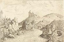 """HANS SEBALD LAUTENSACK Landschaft mit Tobias am Fluss (Der """"Donaustrudel"""" bei Grein)."""