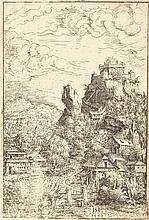 HANS SEBALD LAUTENSACK Landschaft mit einer Burg.