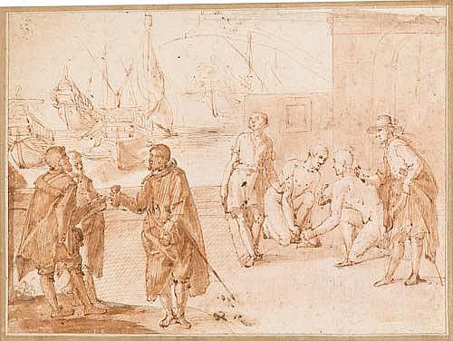 BELISARIO CORENZIO  Sklavenhandel in einem Hafen.