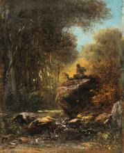 Alois Bach – Ein Faun, auf einem Fels sitzend (Faun sitting on a rock)