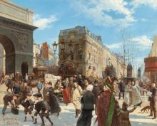Manfred Lindemann-Frommel – Pariser Straßenszene bei der Porte Saint-Martin (Parisian street scene by the Porte Saint-Martin)