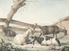 Peter Heinrich Lambert Von Hess – Pendants: Vorgebirgslandschaft mit Ziegen – Vorgebirgslandschaft mit Schafen (Pendants: Mountain foothill landscape with sheep and goats)