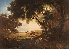 Vorgebirgslandschaft mit Schafen und Rindern.