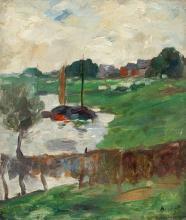 Thomas Ludwig Herbst – Küstenszene mit Booten (Coastal scene with boats)