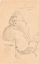 Wilhelm Busch – Charakterkopf eines bärtigen Mannes