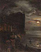 Oswald Achenbach – Hafen im Mondschein