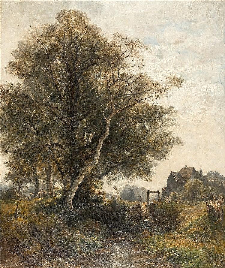 Eugen Birzer – Bayerische Landschaft mit Bauernhaus und Staffage