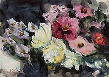 Klaus Fußmann – Gartenblumen (Dahlien und Astern)