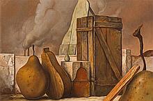 Samuel Bak – Ohne Titel (Surrealistische Komposition mit Birne)