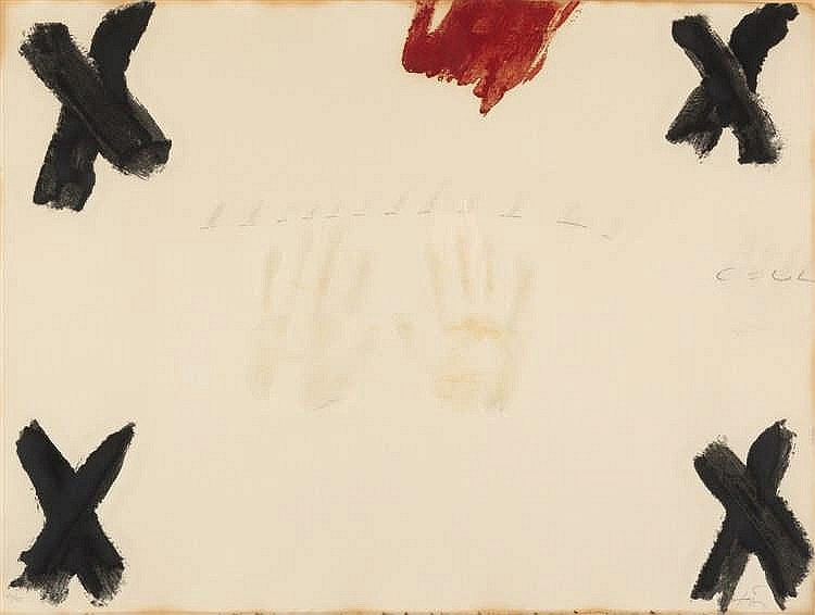 Antoni Tàpies – Dues mans aus: Negre i roig