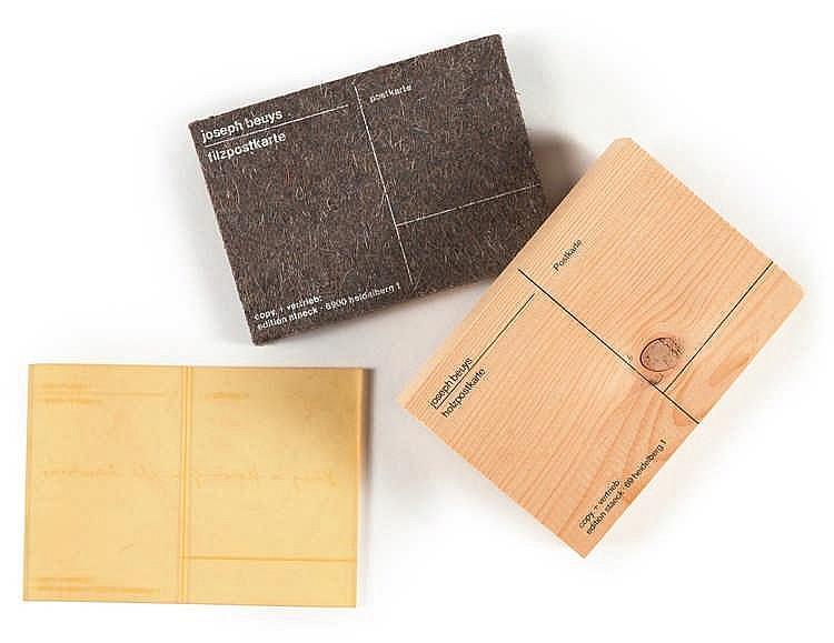 Joseph Beuys – 3 Arbeiten: Filzpostkarte - Holzpostkarte - Honey is flowing