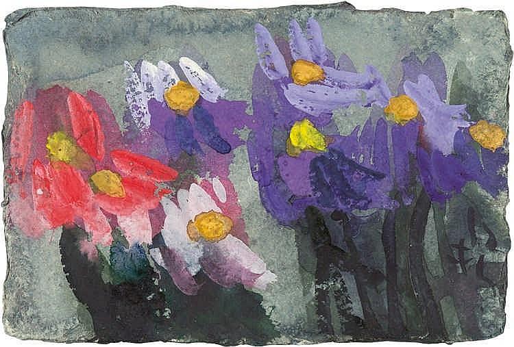 Klaus Fußmann – Lila und rote Blumen