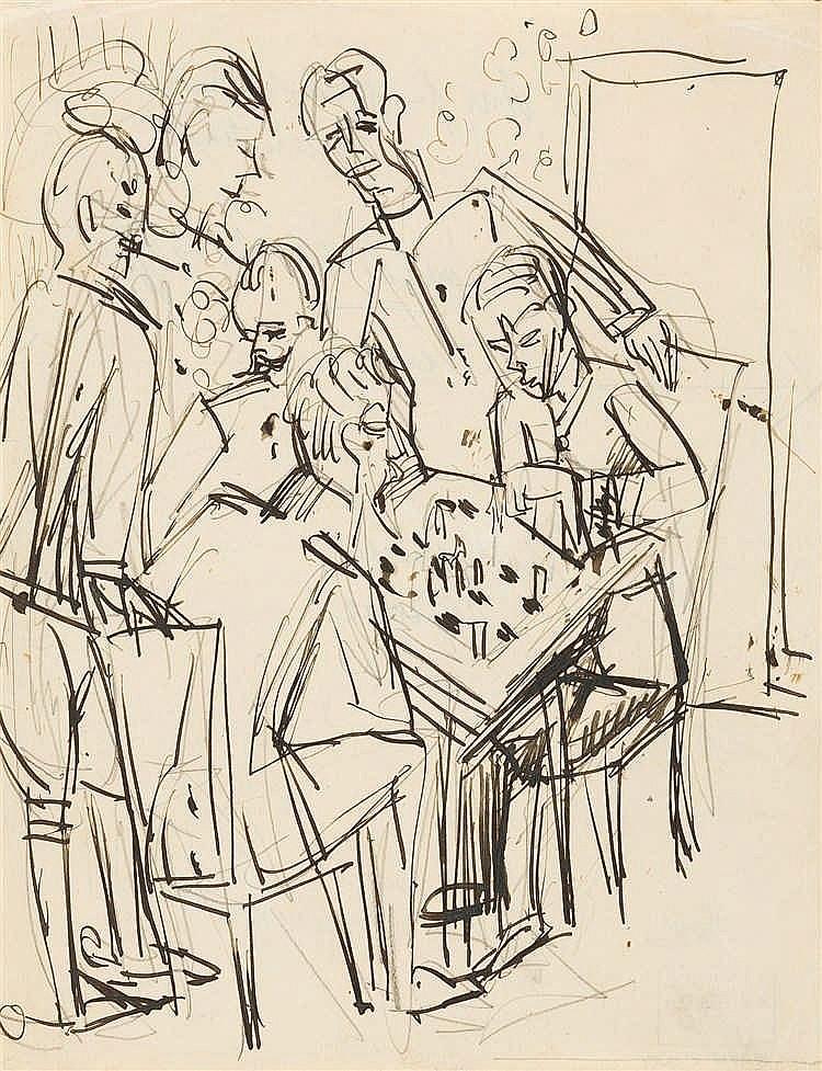"""Ernst Ludwig Kirchner – """"Schachspielende Offiziere"""""""