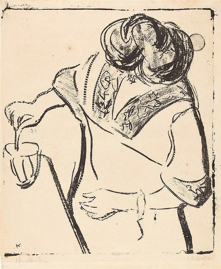 Ernst Ludwig Kirchner – Frau, im Glas rührend