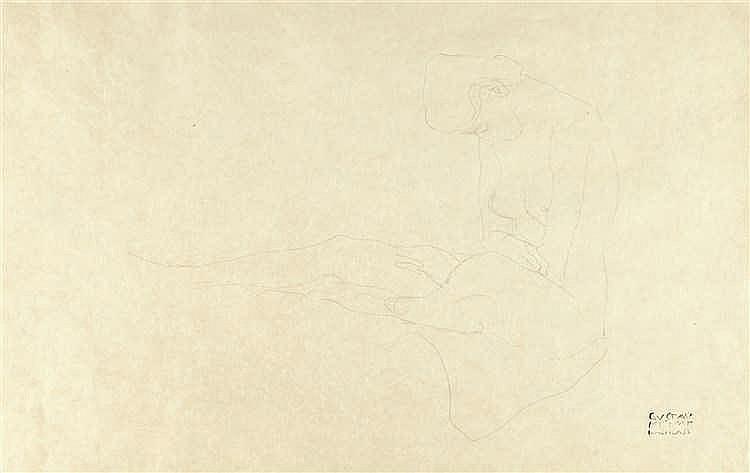 Gustav Klimt – Sitzender Akt nach links