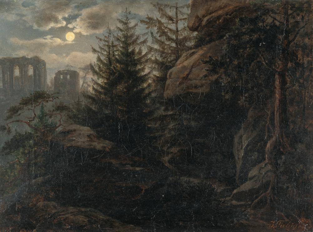Gottlieb Moritz Julius Fiebiger – Mondscheinlandschaft mit gotischer Kirchenruine