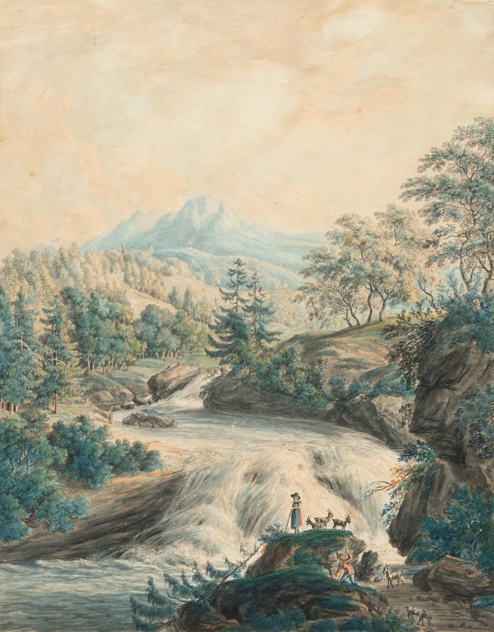 Johann Jakob Dorner D. J. – Flusslandschaft mit Ziegenhirten