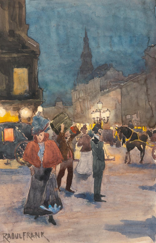 Raoul Frank – Nächtliche Straßenszene vor dem Café New York (Budapest)