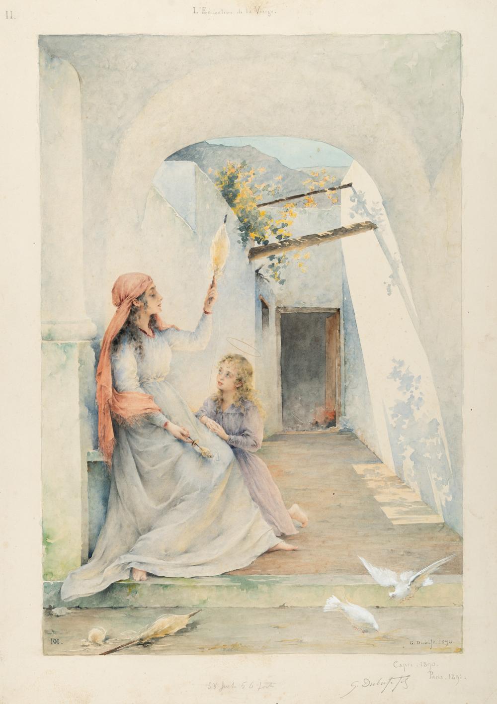 Guillaume Dubufe – Die Erziehung der Jungfrau: Anna und Maria im Innenhof eines Capreser Hauses