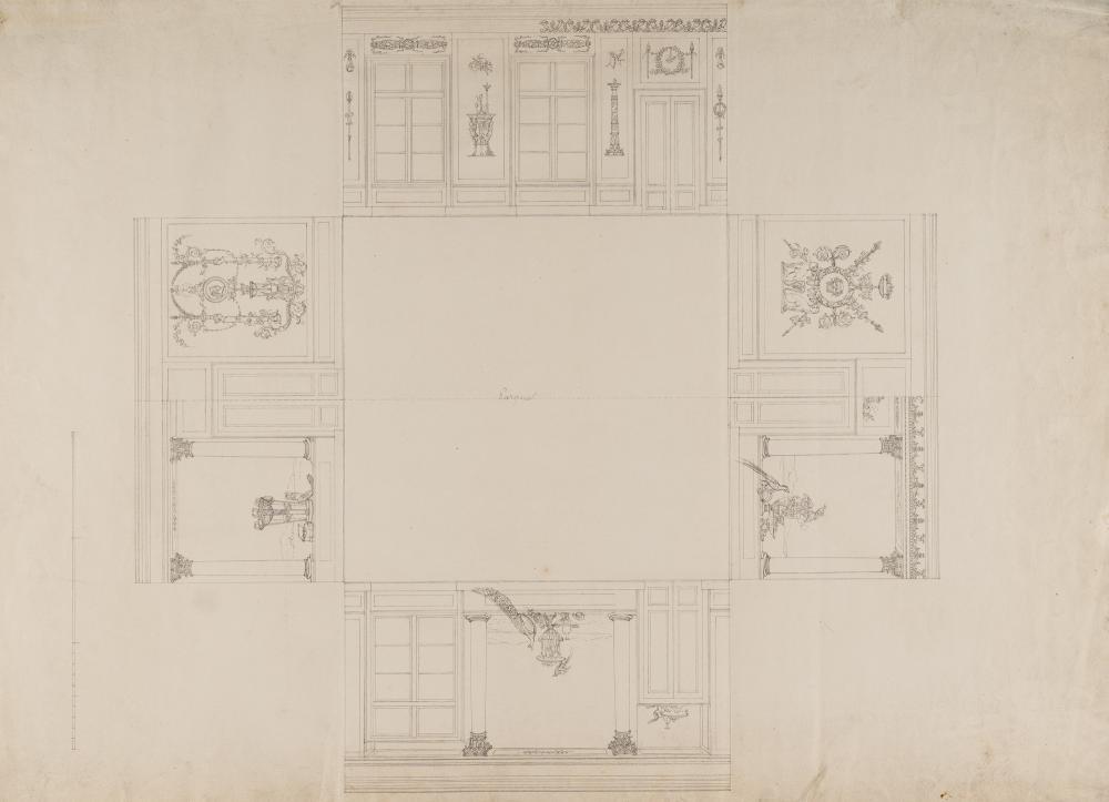 Münchner Klassizist – Vier Aufrisse der Wände eines nahezu quadratischen Raumes