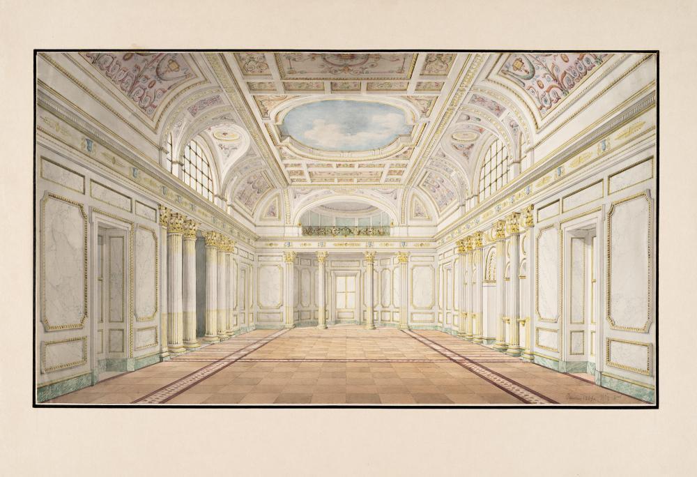 Jean-Baptiste Métivier – 2 Bll.: Säulenportikus mit zwei Nischenfiguren und figürlichem Fries – Innenansicht eines Saales mit aufwendig gestalteten Wänden und bemalter Decke