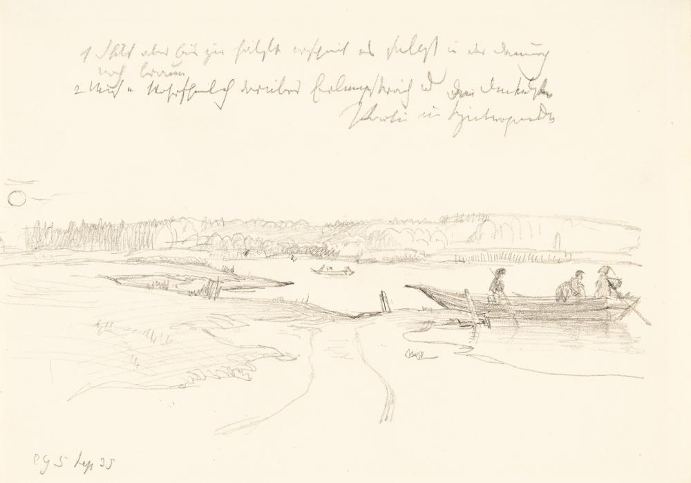 Christian Friedrich Gille – 2 Bll.: Landschaftsstudie mit Ruderboot auf See – Zwei Figurenstudien