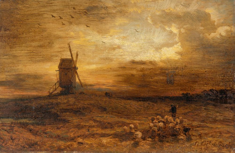 Andreas Achenbach – Holländische Landschaft mit Windmühle und Schafherde