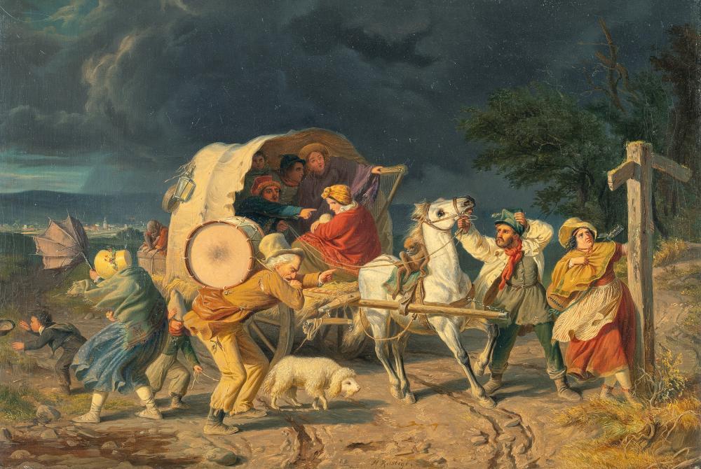 Heinrich Franz Gaudenz Von Rustige – Fahrendes Volk an der Wegkreuzung bei aufkommendem Unwetter