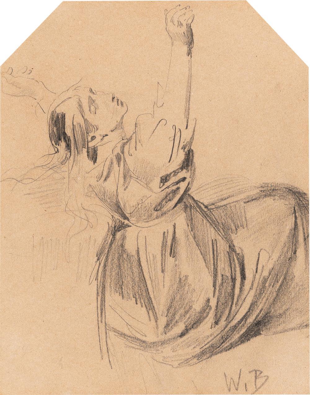 Wilhelm Busch – Grete Fehlow, mit erhobenen Armen nach rechts sitzend