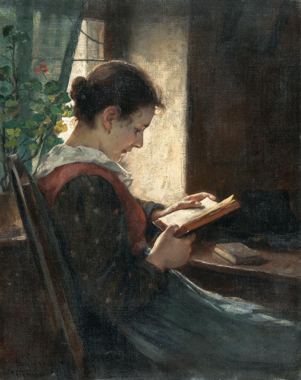 Emma Von Müller – Bauernmädchen lesend am Tisch