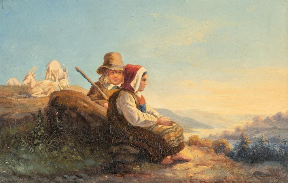 Deutsch – Zwei Kinder beim Ziegenhüten
