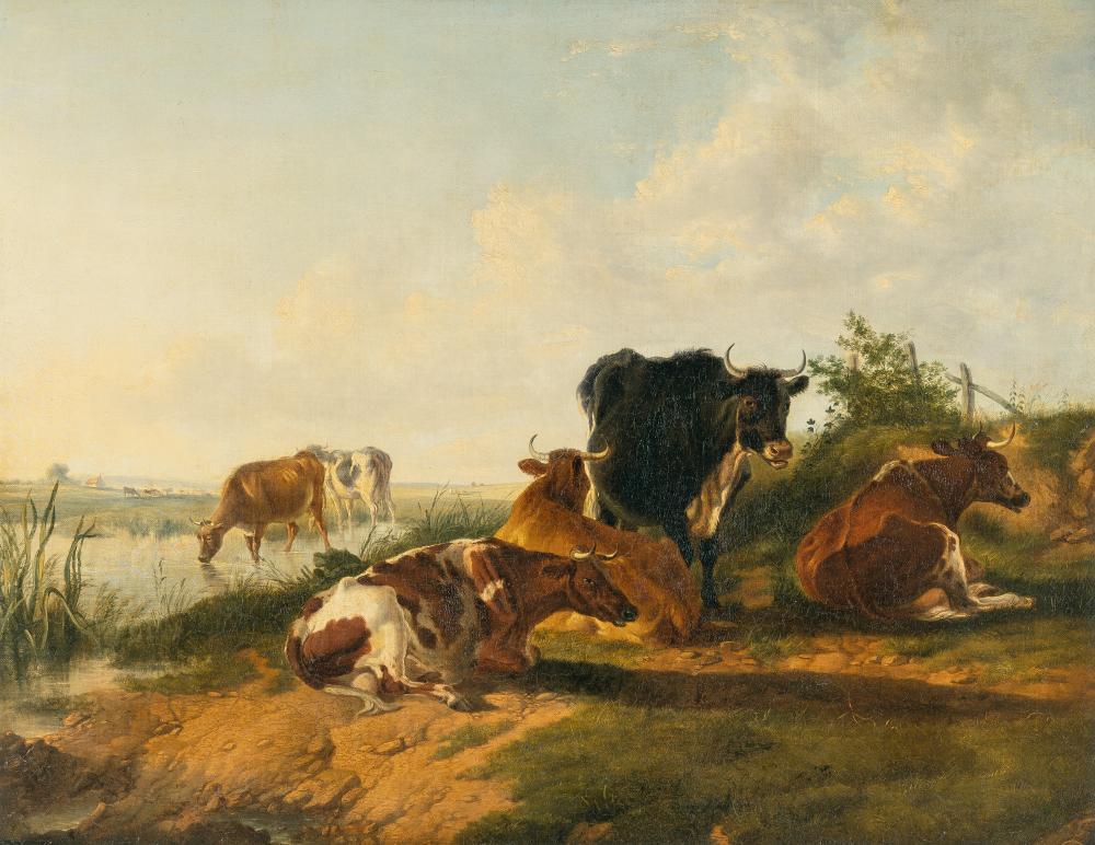 "Thomas Sidney Cooper – Kühe am Wasser in Canterbury Meadows (""A summer's evening"")"