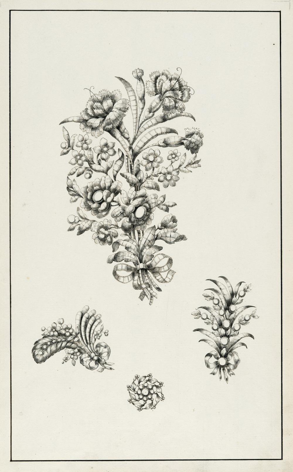 Französisch – 2 Bll.: Florale Broschenentwürfe