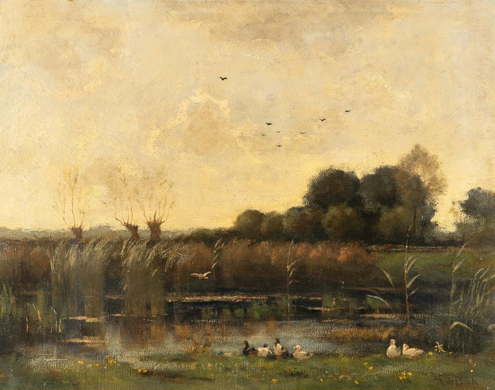 Théophile De Bock – Enten am Ufer eines kleinen Weihers