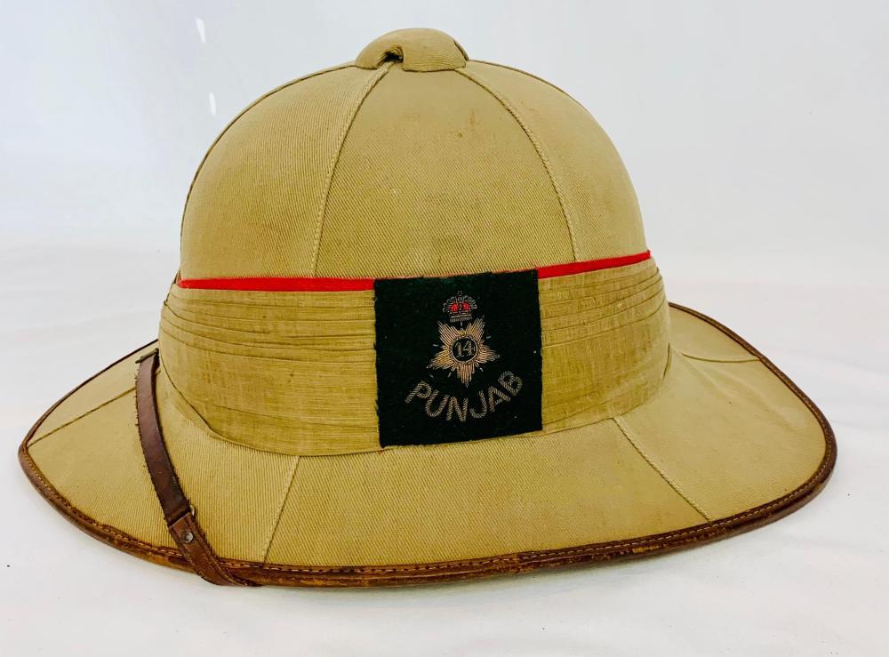 14th Punjab British Military Pith Helmet