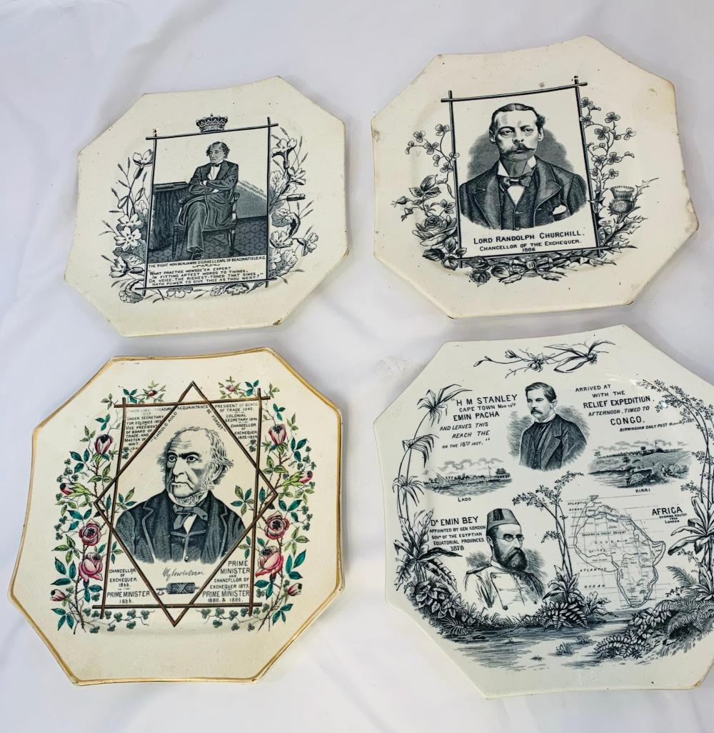Victorian Staffordshire Political Plates