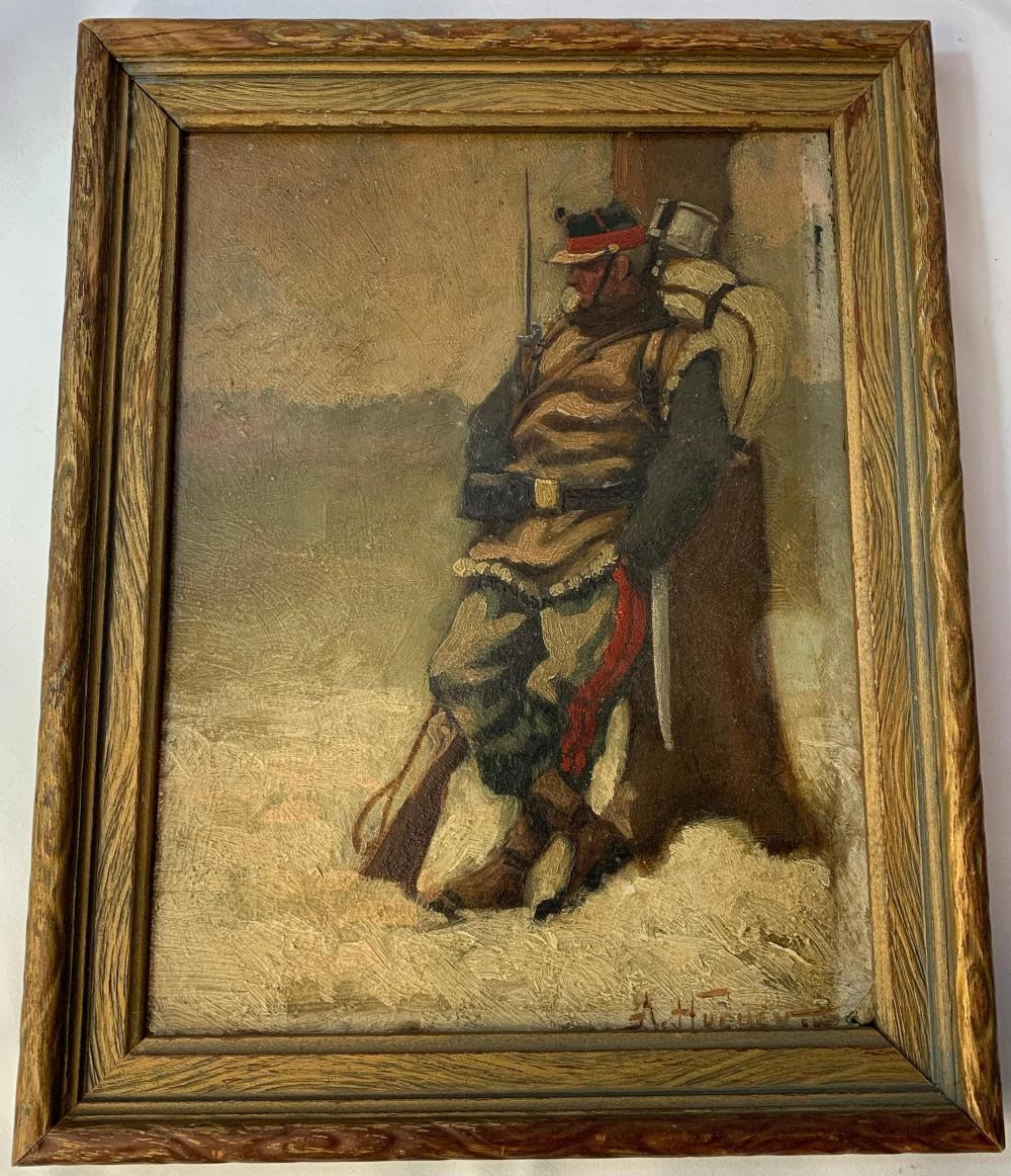 French WWI Era Military Oil Painting