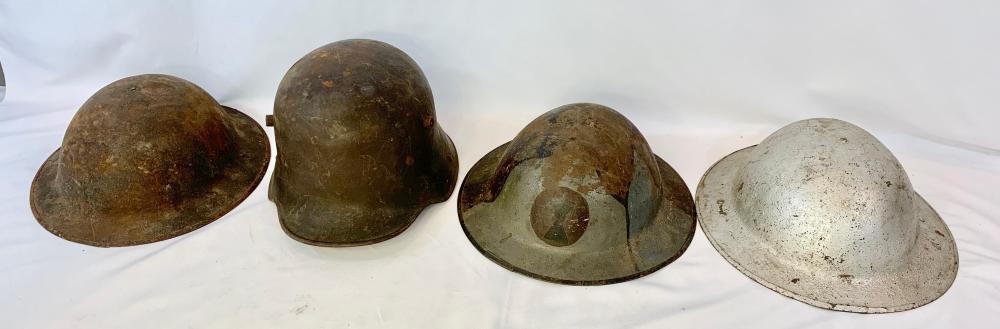 Four WWI Helmets