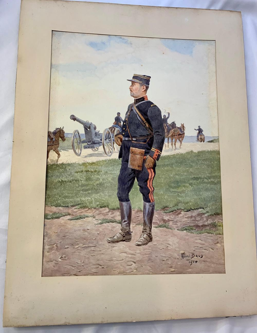 French WWI Painting of Officer by Baud