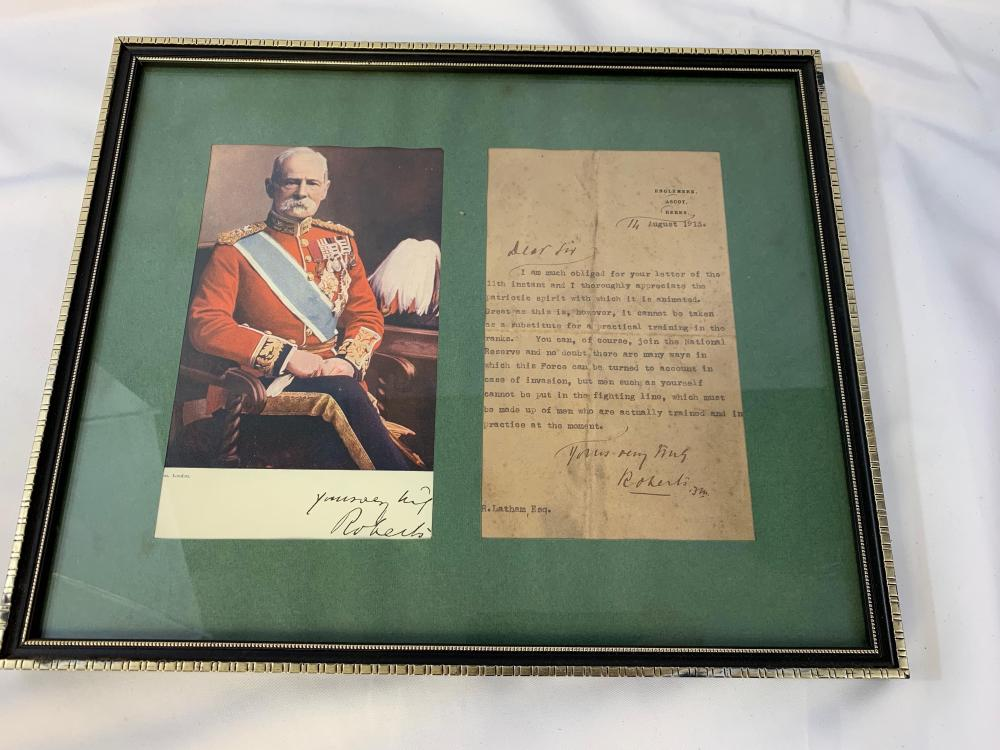 Lord Roberts WWI Framed Letter