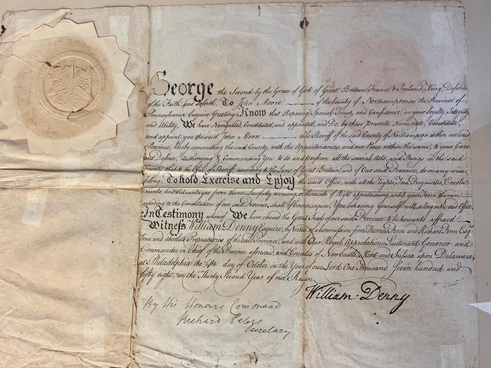 Rare George II Pennsylvania Sheriff's Appointment 1758