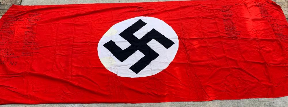 Captured & Signed WWII German Flag