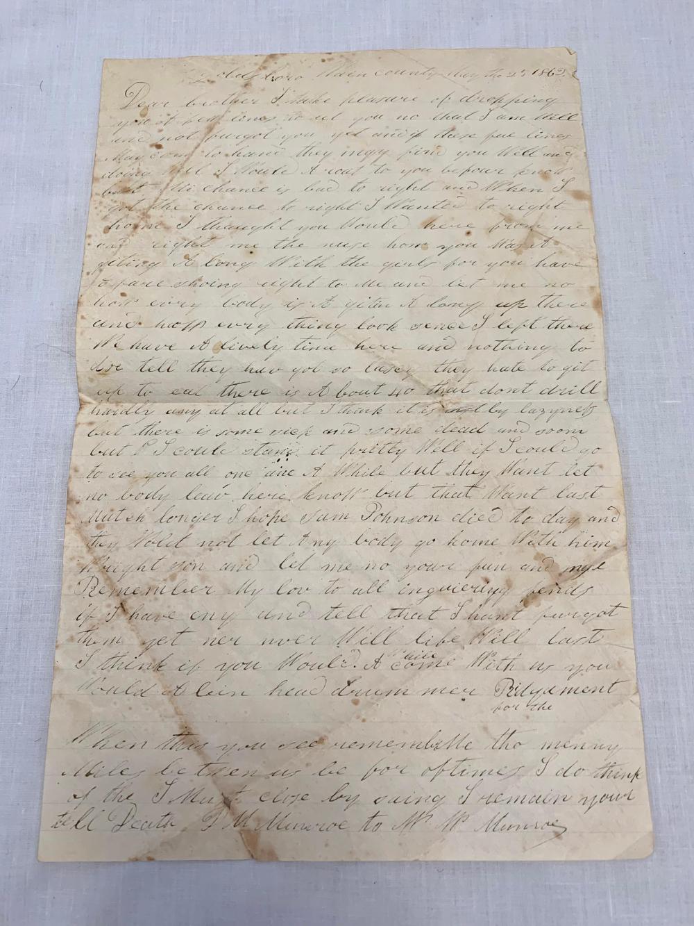 Identified Confederate Civil War Letter
