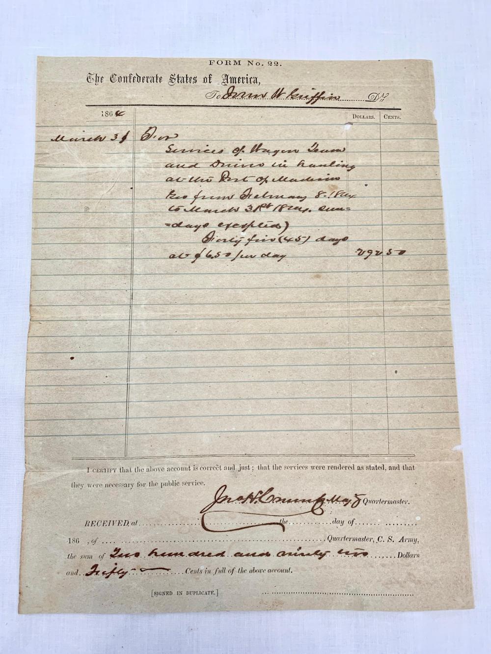 Confederate Civil War Requisition