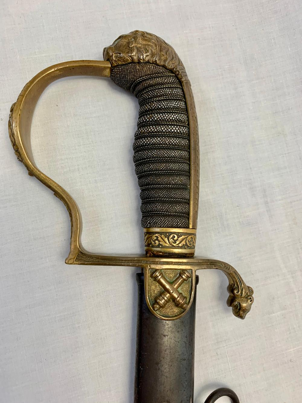 Gold & Damascus German Artillery Sword