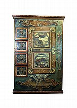 Richly painted rustic cabinet