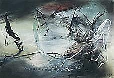 Kozik, Gregor Torsten (geb. 1948 Hildburghausen) -Abstrakt - Dynamische Komposition mit heller Bildmitte. Unten spiegelverkehrte Schriftzug. Mischtechnik. 51 x 73 cm. Sign. und dat. r. u.: Kozik 93. 7000/0081